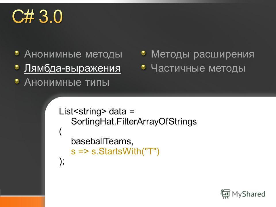 Microsoft TechDays Анонимные методы Лямбда-выражения Анонимные типы Методы расширения Частичные методы List data = SortingHat.FilterArrayOfStrings ( baseballTeams, s => s.StartsWith(T) );