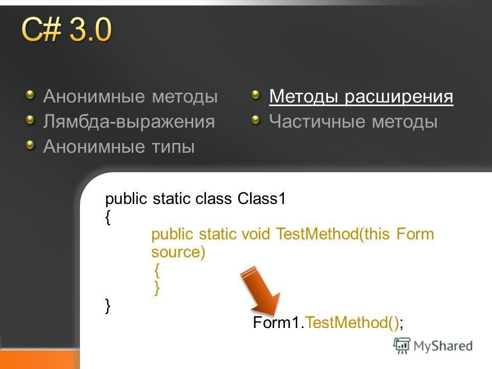 Microsoft TechDays Анонимные методы Лямбда-выражения Анонимные типы Методы расширения Частичные методы public static class Class1 { public static void TestMethod(this Form source) { } Form1.TestMethod();