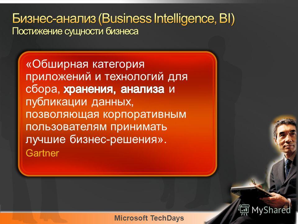 Microsoft TechDays «Обширная категория приложений и технологий для сбора, хранения, анализа и публикации данных, позволяющая корпоративным пользователям принимать лучшие бизнес-решения». Gartner