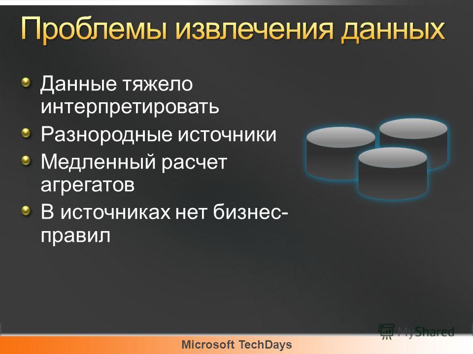 Microsoft TechDays Данные тяжело интерпретировать Разнородные источники Медленный расчет агрегатов В источниках нет бизнес- правил
