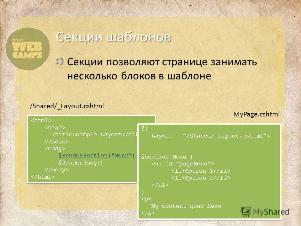Секции позволяют странице занимать несколько блоков в шаблоне Секции шаблонов Simple Layout @RenderSection(