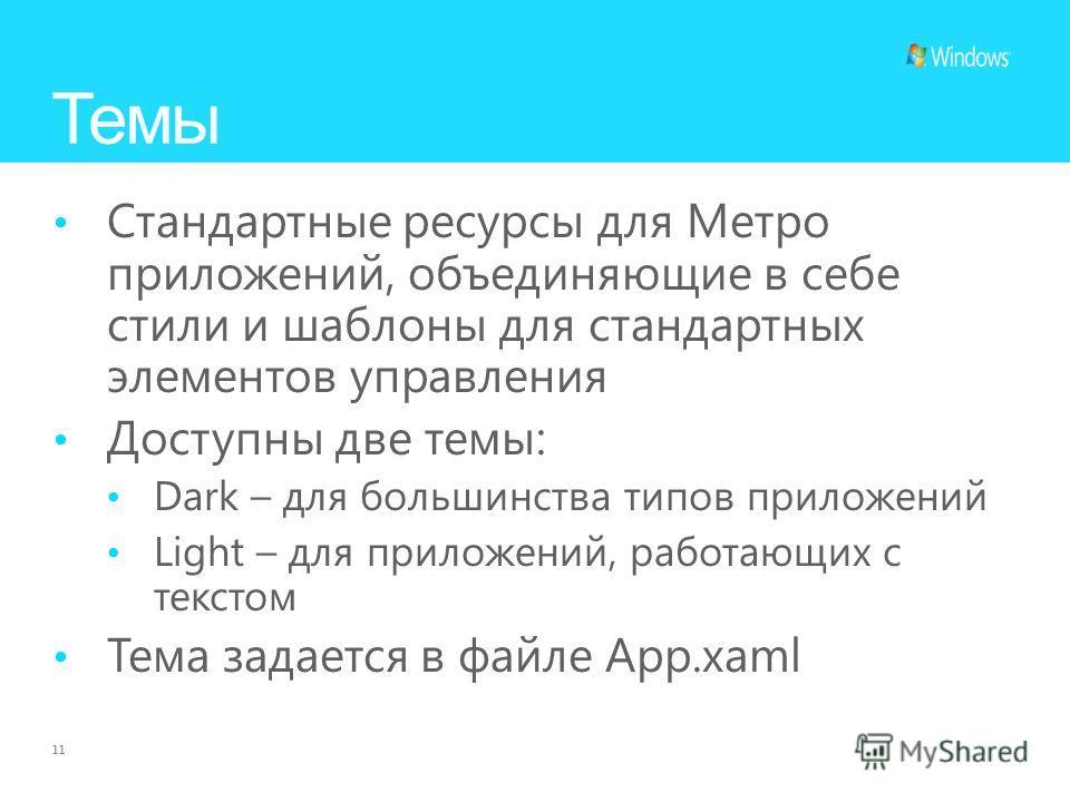 11 Темы Стандартные ресурсы для Метро приложений, объединяющие в себе стили и шаблоны для стандартных элементов управления Доступны две темы: Dark – для большинства типов приложений Light – для приложений, работающих с текстом Тема задается в файле A