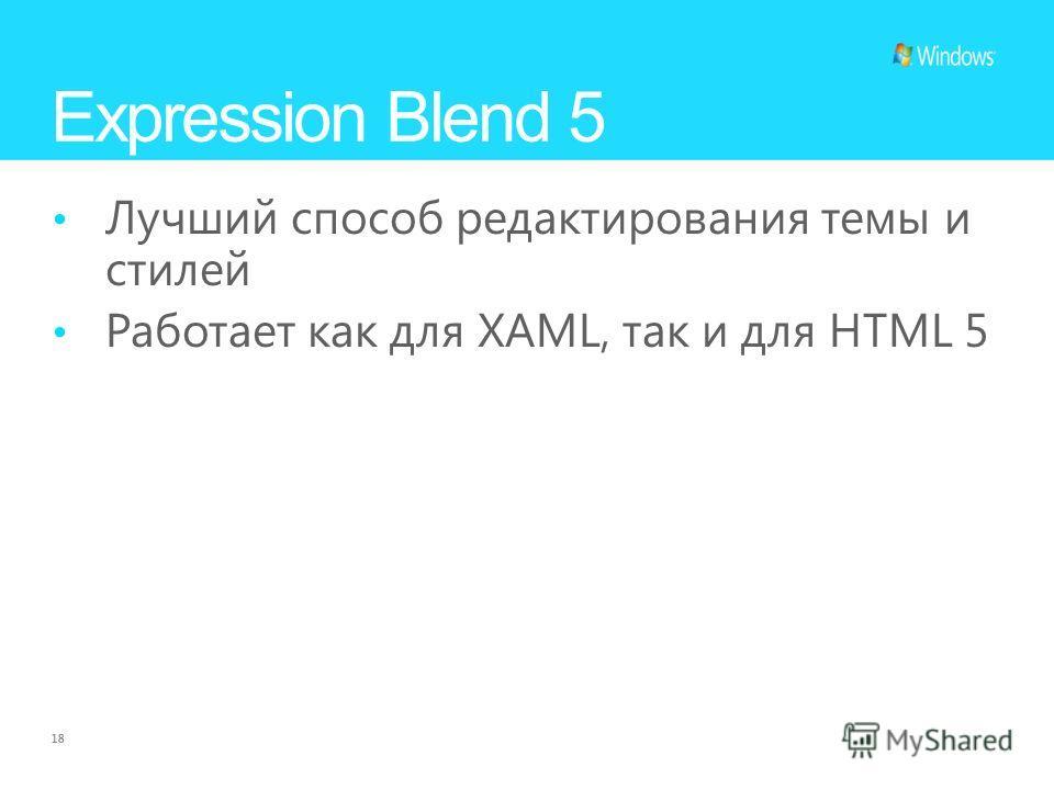 18 Expression Blend 5 Лучший способ редактирования темы и стилей Работает как для XAML, так и для HTML 5