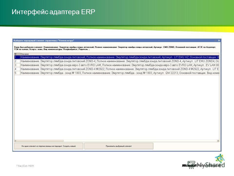 Интерфейс адаптера ERP NaviCon MDM7