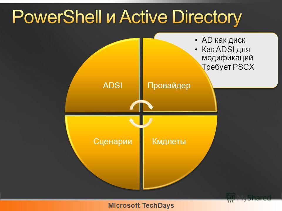Microsoft TechDays AD как диск Как ADSI для модификаций Требует PSCX ADSIПровайдер КмдлетыСценарии