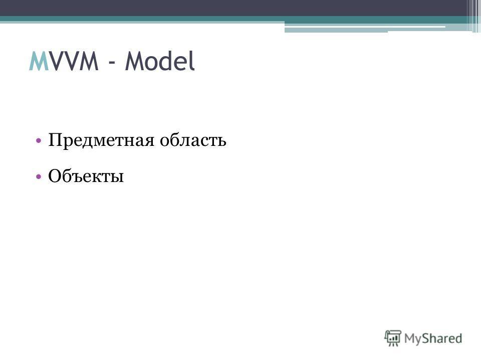 MVVM - Model Предметная область Объекты