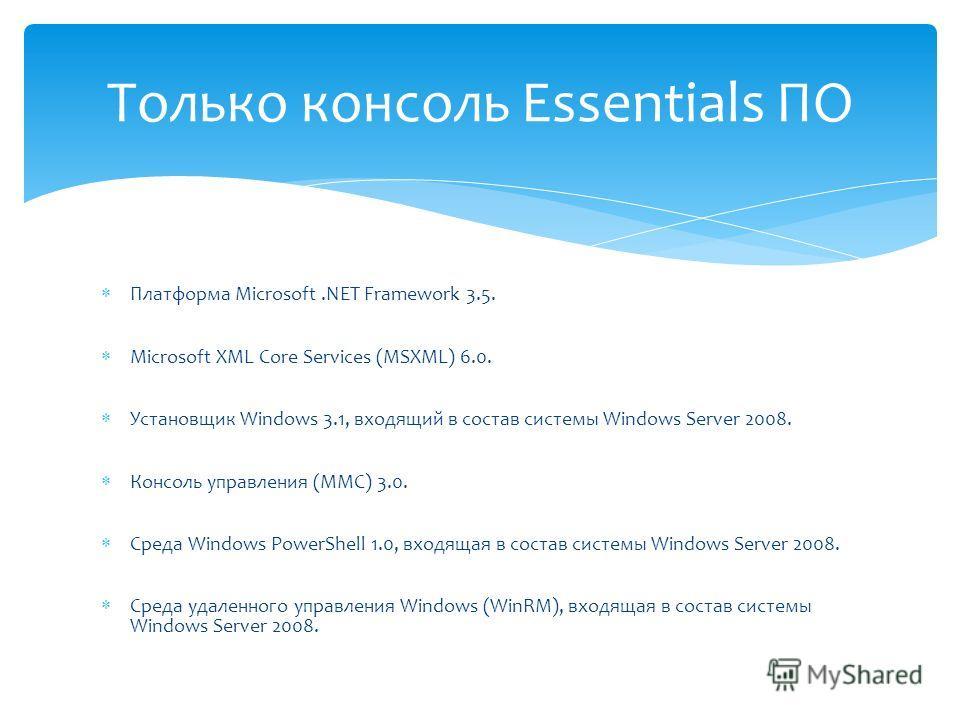 Платформа Microsoft.NET Framework 3.5. Microsoft XML Core Services (MSXML) 6.0. Установщик Windows 3.1, входящий в состав системы Windows Server 2008. Консоль управления (MMC) 3.0. Среда Windows PowerShell 1.0, входящая в состав системы Windows Serve