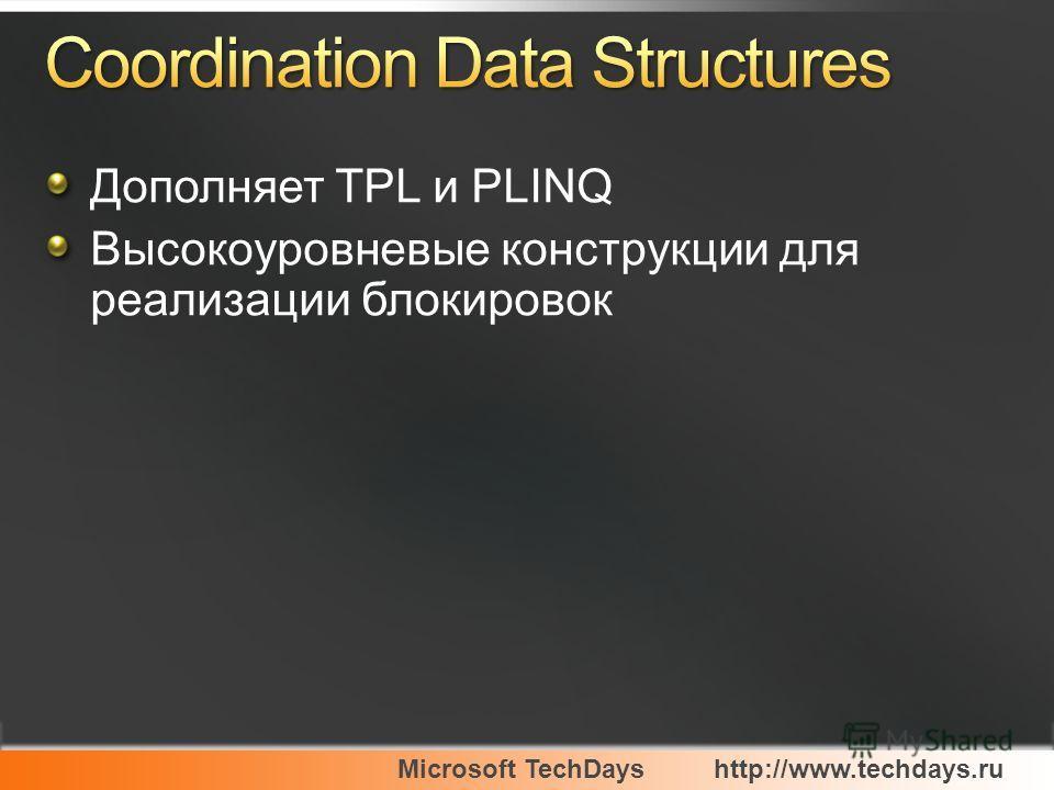 Microsoft TechDayshttp://www.techdays.ru Дополняет TPL и PLINQ Высокоуровневые конструкции для реализации блокировок