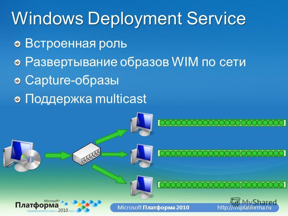 http://msplatforma.ruMicrosoft Платформа 2010 Windows Deployment Service Встроенная роль Развертывание образов WIM по сети Capture-образы Поддержка multicast