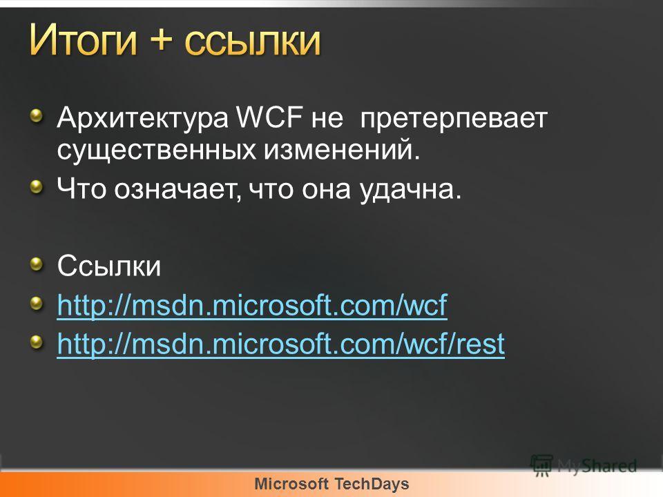 Архитектура WCF не претерпевает существенных изменений. Что означает, что она удачна. Ссылки http://msdn.microsoft.com/wcf http://msdn.microsoft.com/wcf/rest