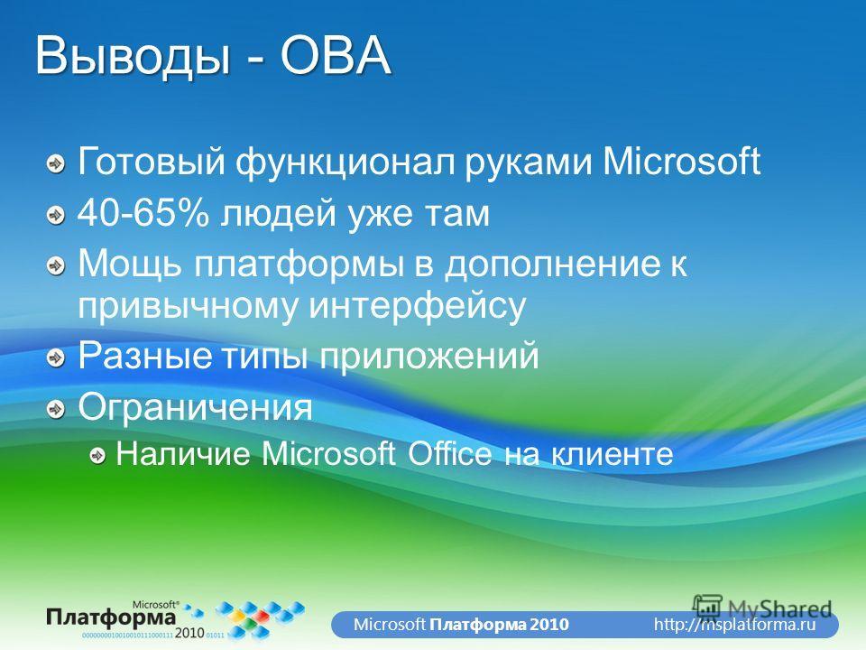 http://msplatforma.ruMicrosoft Платформа 2010 Выводы - OBA Готовый функционал руками Microsoft 40-65% людей уже там Мощь платформы в дополнение к привычному интерфейсу Разные типы приложений Ограничения Наличие Microsoft Office на клиенте