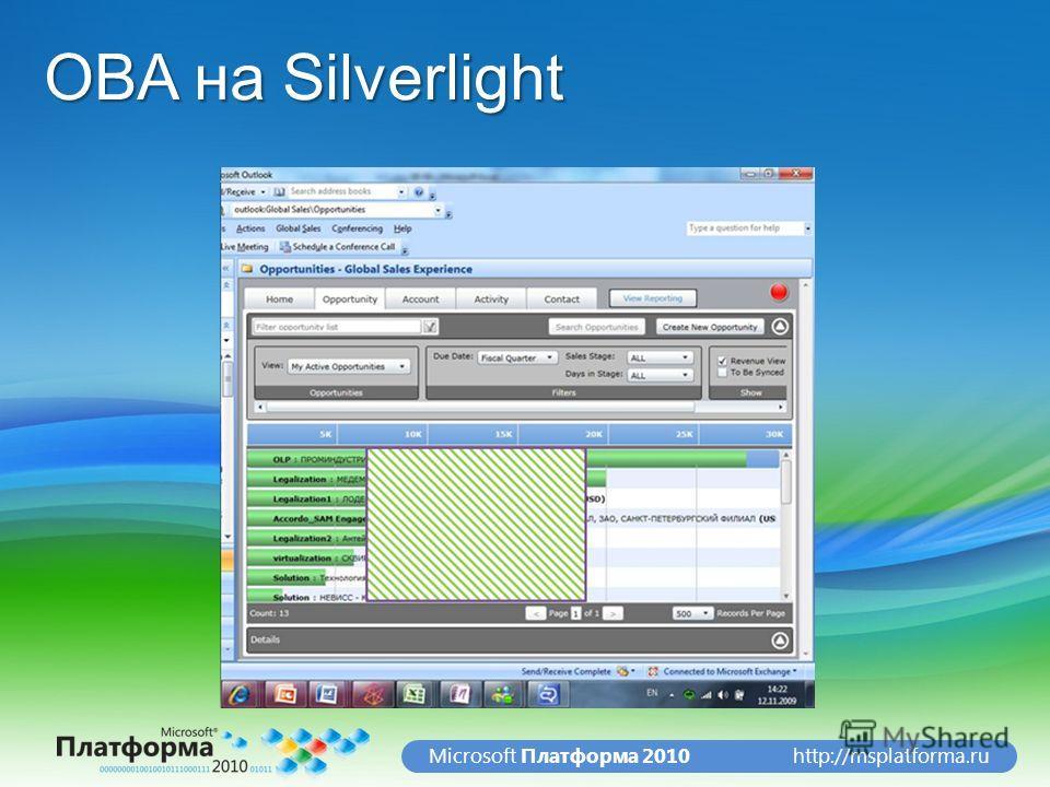 http://msplatforma.ruMicrosoft Платформа 2010 OBA на Silverlight