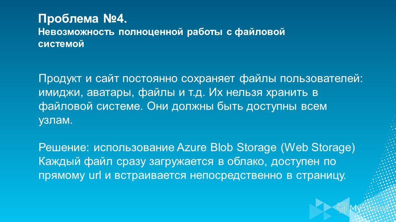 Проблема 4. Невозможность полноценной работы с файловой системой Продукт и сайт постоянно сохраняет файлы пользователей: имиджи, аватары, файлы и т.д. Их нельзя хранить в файловой системе. Они должны быть доступны всем узлам. Решение: использование A
