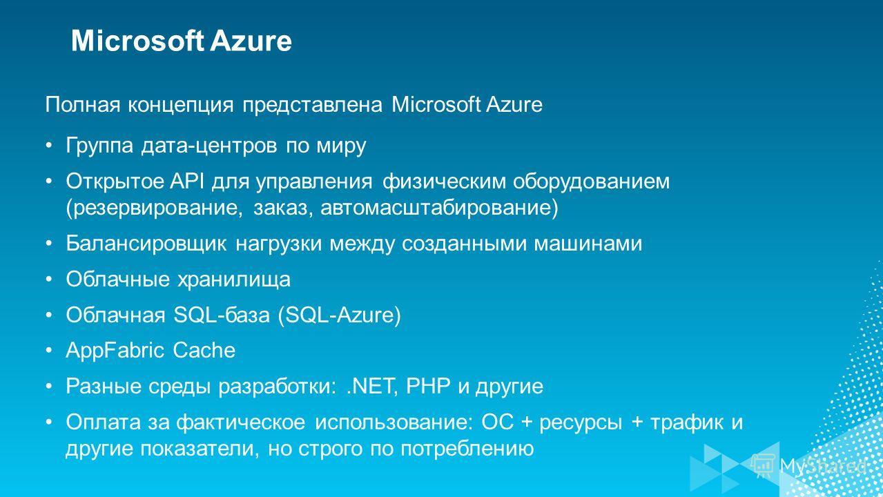 Полная концепция представлена Microsoft Azure Группа дата-центров по миру Открытое API для управления физическим оборудованием (резервирование, заказ, автомасштабирование) Балансировщик нагрузки между созданными машинами Облачные хранилища Облачная S