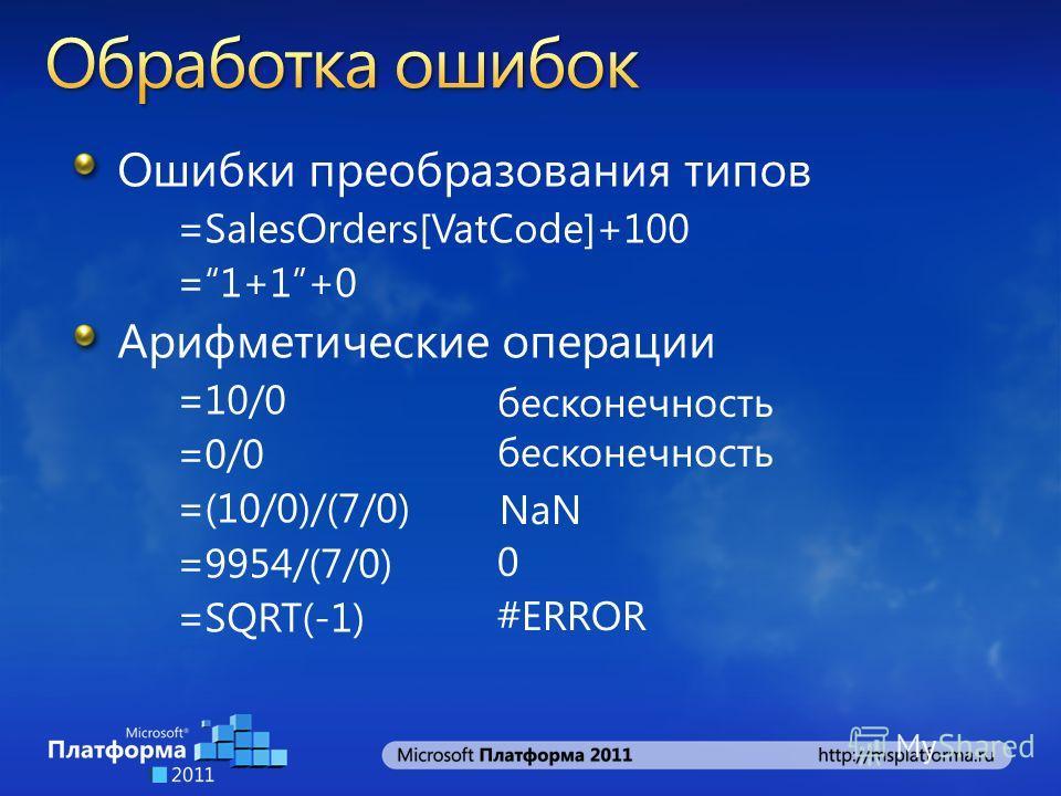 Ошибки преобразования типов =SalesOrders[VatCode]+100 =1+1+0 Арифметические операции =10/0 =0/0 =(10/0)/(7/0) =9954/(7/0) =SQRT(-1) бесконечность NaN 0 #ERROR