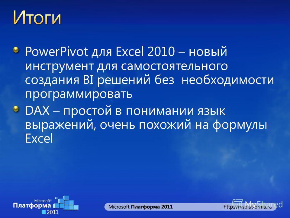 PowerPivot для Excel 2010 – новый инструмент для самостоятельного создания BI решений без необходимости программировать DAX – простой в понимании язык выражений, очень похожий на формулы Excel