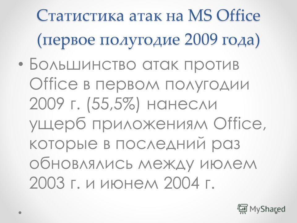 Статистика атак на MS Office (первое полугодие 2009 года) Большинство атак против Office в первом полугодии 2009 г. (55,5%) нанесли ущерб приложениям Office, которые в последний раз обновлялись между июлем 2003 г. и июнем 2004 г.