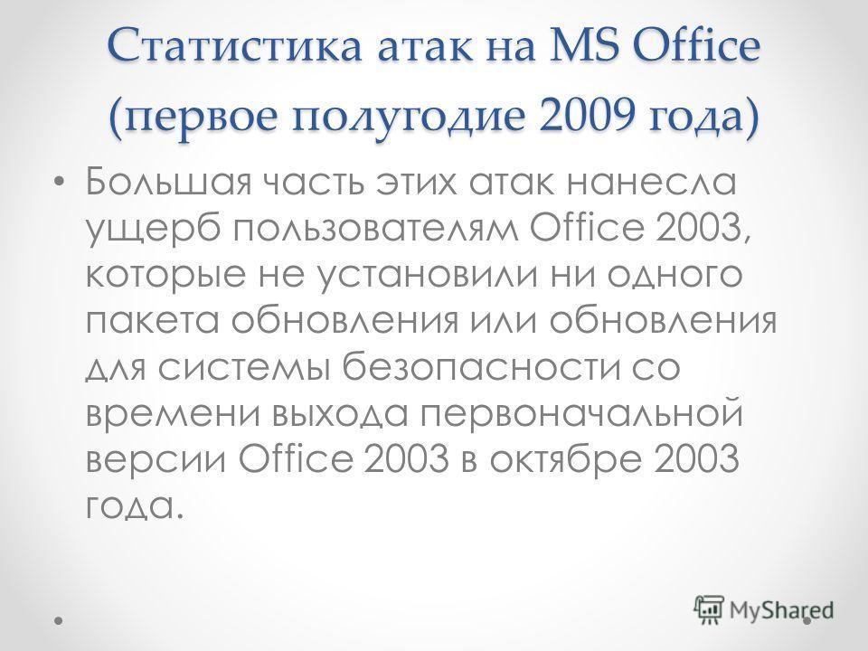 Статистика атак на MS Office (первое полугодие 2009 года) Большая часть этих атак нанесла ущерб пользователям Office 2003, которые не установили ни одного пакета обновления или обновления для системы безопасности со времени выхода первоначальной верс
