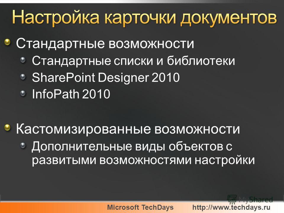 Стандартные возможности Стандартные списки и библиотеки SharePoint Designer 2010 InfoPath 2010 Кастомизированные возможности Дополнительные виды объектов с развитыми возможностями настройки