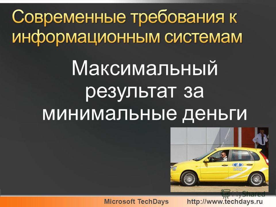 Microsoft TechDayshttp://www.techdays.ru Максимальный результат за минимальные деньги
