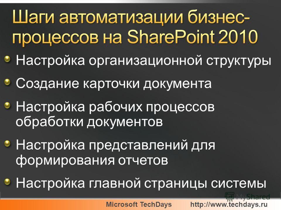 Microsoft TechDayshttp://www.techdays.ru Настройка организационной структуры Создание карточки документа Настройка рабочих процессов обработки документов Настройка представлений для формирования отчетов Настройка главной страницы системы