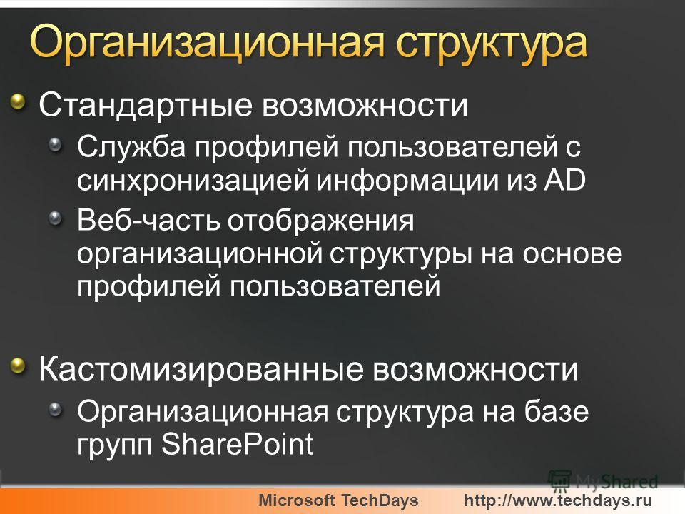 Microsoft TechDayshttp://www.techdays.ru Стандартные возможности Служба профилей пользователей с синхронизацией информации из AD Веб-часть отображения организационной структуры на основе профилей пользователей Кастомизированные возможности Организаци