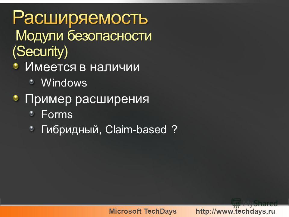 Microsoft TechDayshttp://www.techdays.ru Имеется в наличии Windows Пример расширения Forms Гибридный, Claim-based ?