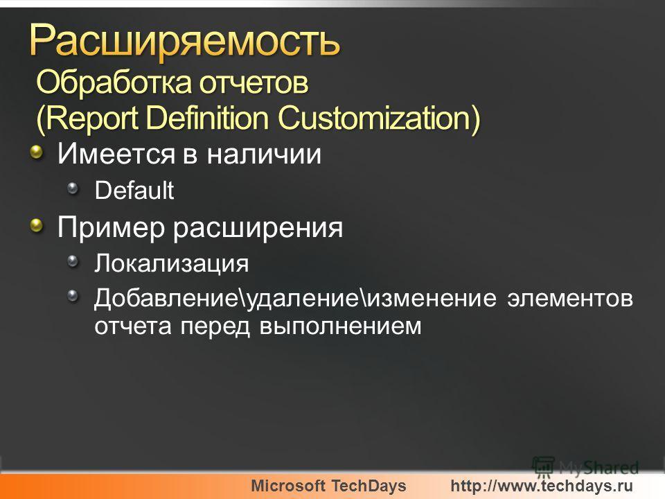 Microsoft TechDayshttp://www.techdays.ru Имеется в наличии Default Пример расширения Локализация Добавление\удаление\изменение элементов отчета перед выполнением