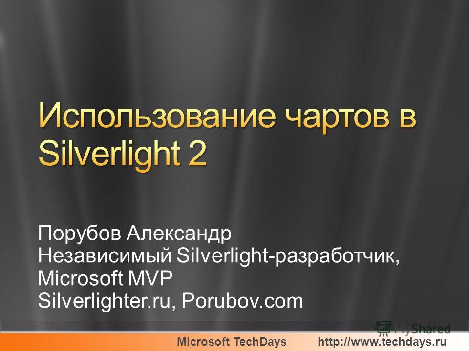 Microsoft TechDayshttp://www.techdays.ru Порубов Александр Независимый Silverlight-разработчик, Microsoft MVP Silverlighter.ru, Porubov.com