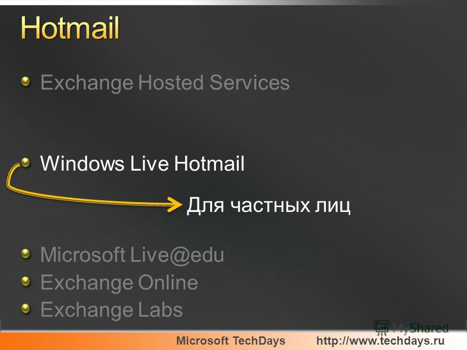 Microsoft TechDayshttp://www.techdays.ru Exchange Hosted Services Windows Live Hotmail Microsoft Live@edu Exchange Online Exchange Labs Для частных лиц