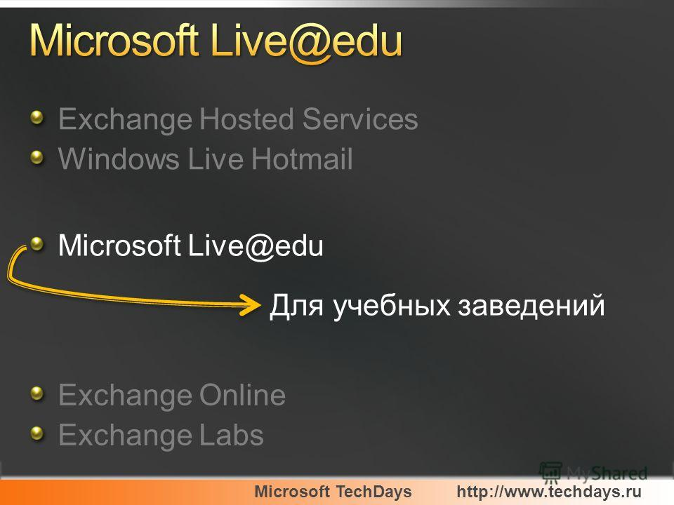 Microsoft TechDayshttp://www.techdays.ru Exchange Hosted Services Windows Live Hotmail Microsoft Live@edu Exchange Online Exchange Labs Для учебных заведений