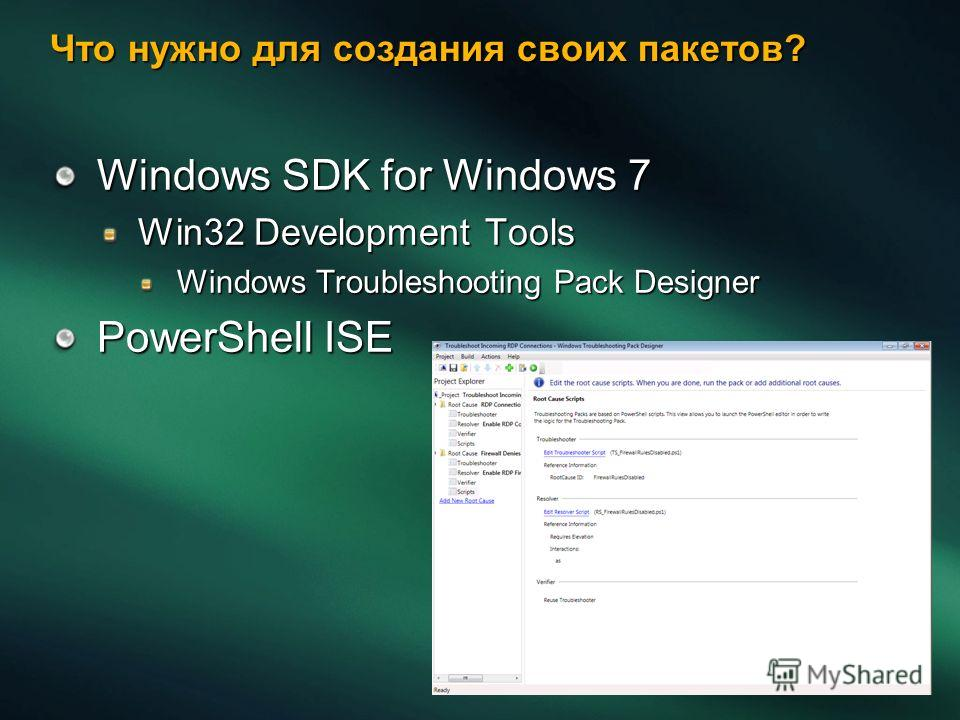 Что нужно для создания своих пакетов? Windows SDK for Windows 7 Win32 Development Tools Windows Troubleshooting Pack Designer PowerShell ISE
