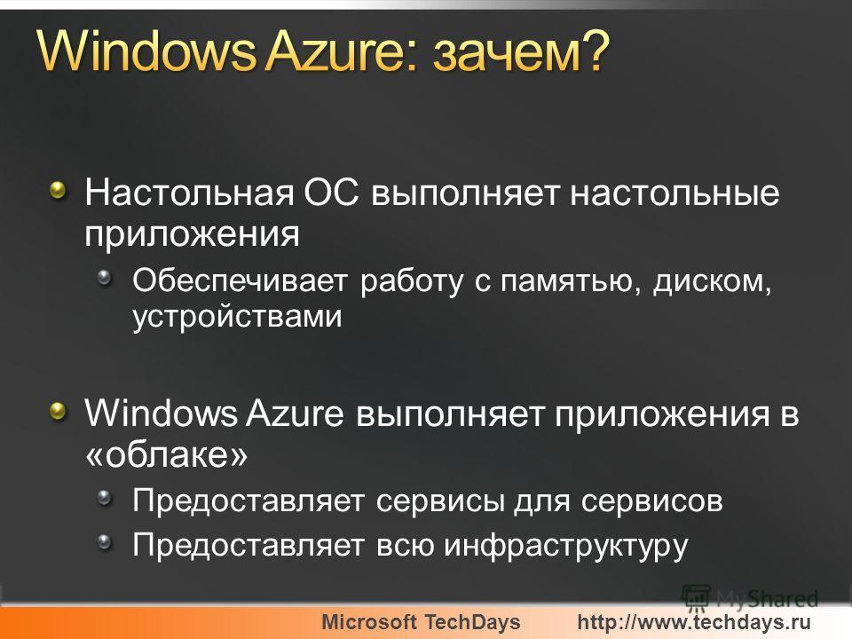 Настольная ОС выполняет настольные приложения Обеспечивает работу с памятью, диском, устройствами Windows Azure выполняет приложения в «облаке» Предоставляет сервисы для сервисов Предоставляет всю инфраструктуру