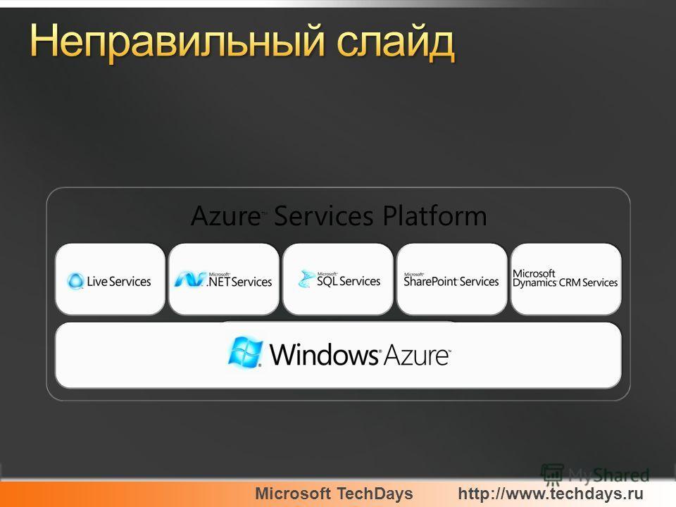 Microsoft TechDayshttp://www.techdays.ru Azure Services Platform
