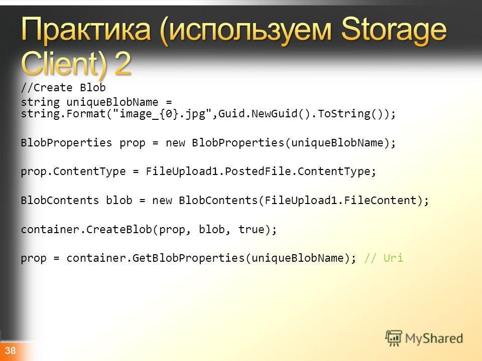 Microsoft TechDayshttp://www.techdays.ru 38 //Create Blob string uniqueBlobName = string.Format(