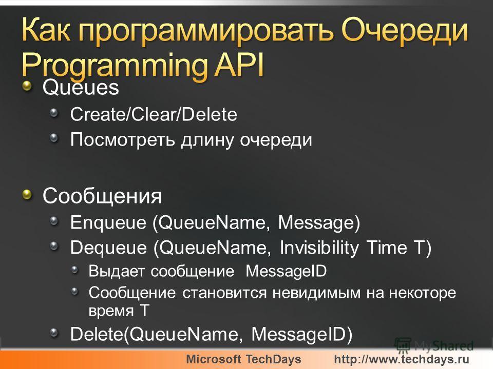 Microsoft TechDayshttp://www.techdays.ru Queues Create/Clear/Delete Посмотреть длину очереди Сообщения Enqueue (QueueName, Message) Dequeue (QueueName, Invisibility Time T) Выдает сообщение MessageID Сообщение становится невидимым на некоторе время T