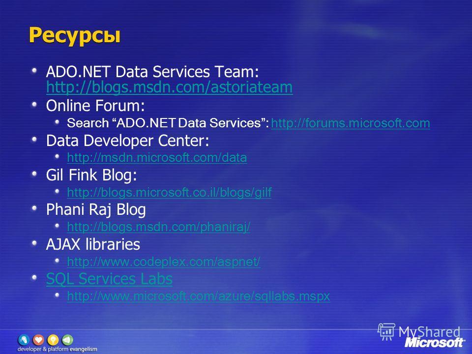 Ресурсы ADO.NET Data Services Team: http://blogs.msdn.com/astoriateam http://blogs.msdn.com/astoriateam Online Forum: Search ADO.NET Data Services: http://forums.microsoft.comhttp://forums.microsoft.com Data Developer Center: http://msdn.microsoft.co