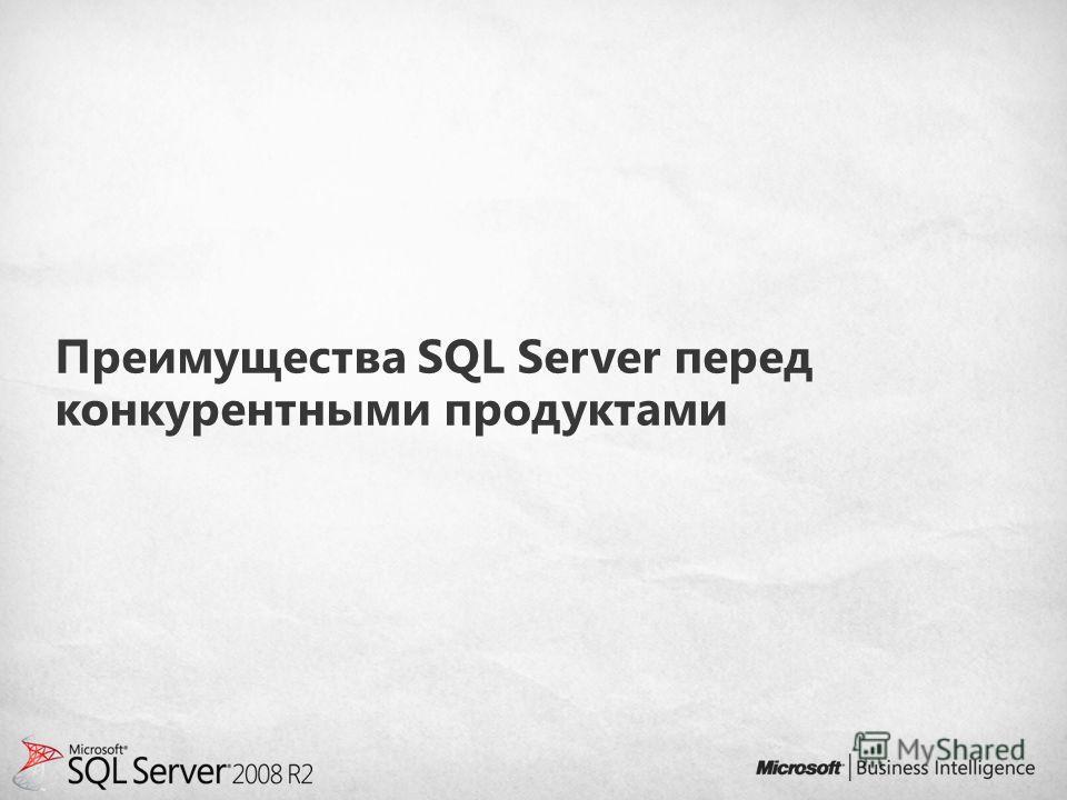 Преимущества SQL Server перед конкурентными продуктами