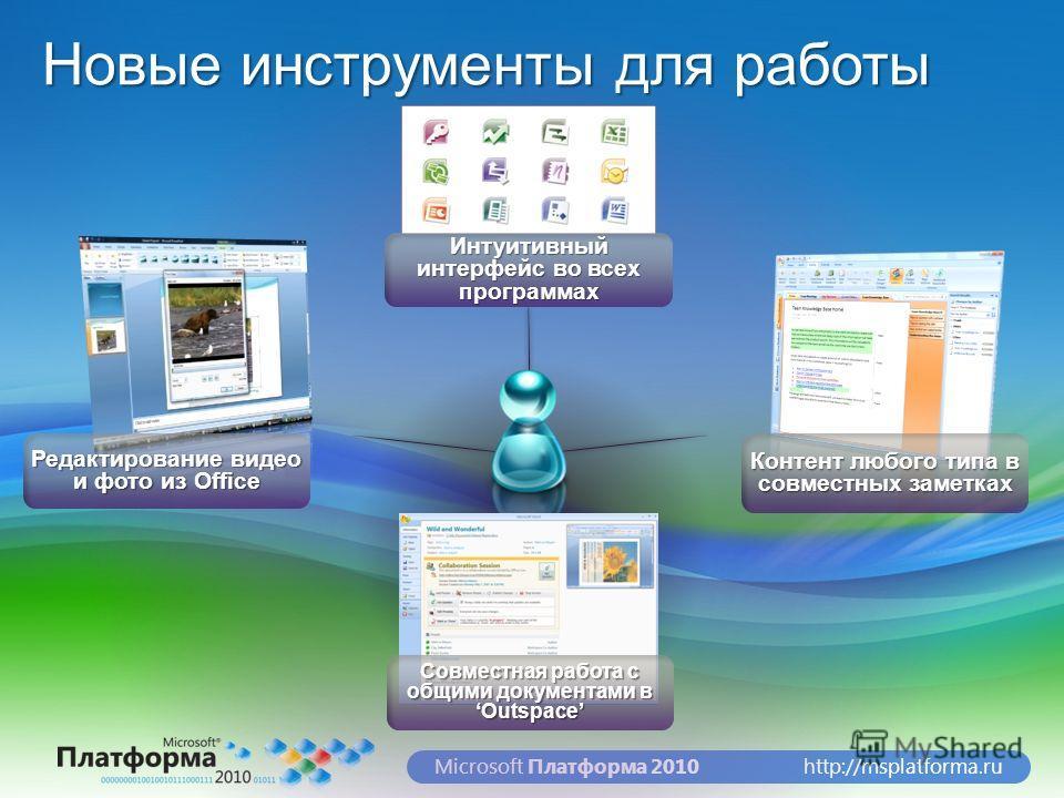 http://msplatforma.ruMicrosoft Платформа 2010 Новые инструменты для работы Редактирование видео и фото из Office Контент любого типа в совместных заметках Интуитивный интерфейс во всех программах Совместная работа с общими документами в Outspace