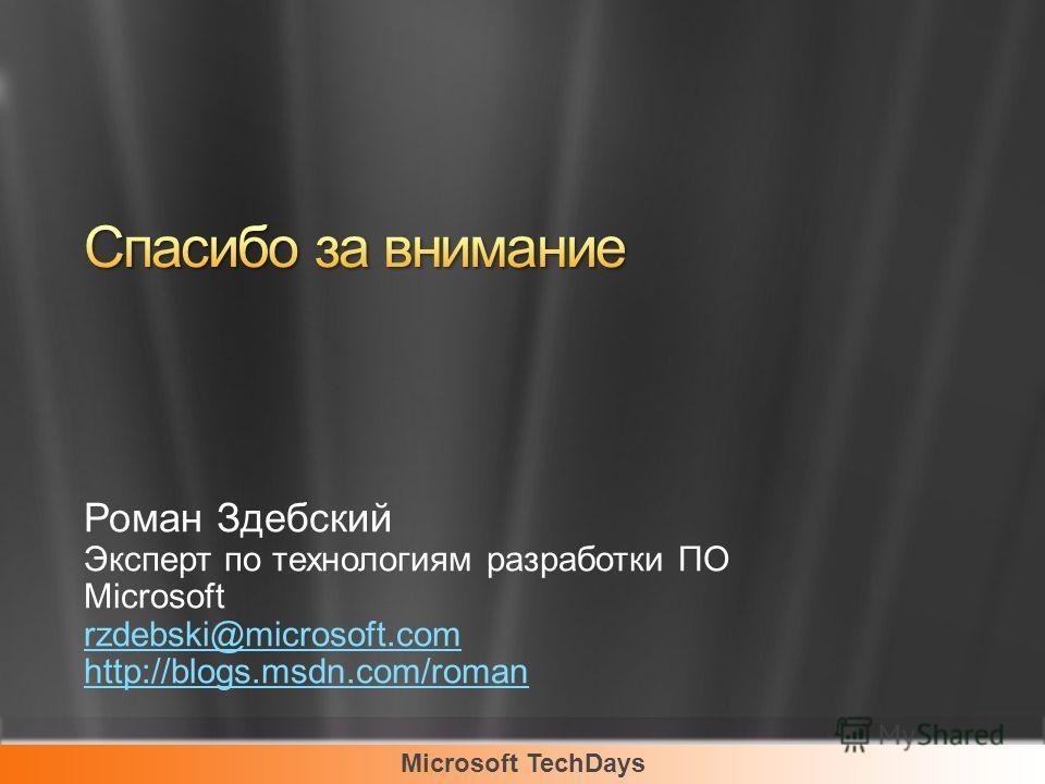 Роман Здебский Эксперт по технологиям разработки ПО Microsoft rzdebski@microsoft.com http://blogs.msdn.com/roman