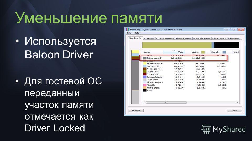 Уменьшение памяти Используется Baloon Driver Для гостевой ОС переданный участок памяти отмечается как Driver Locked