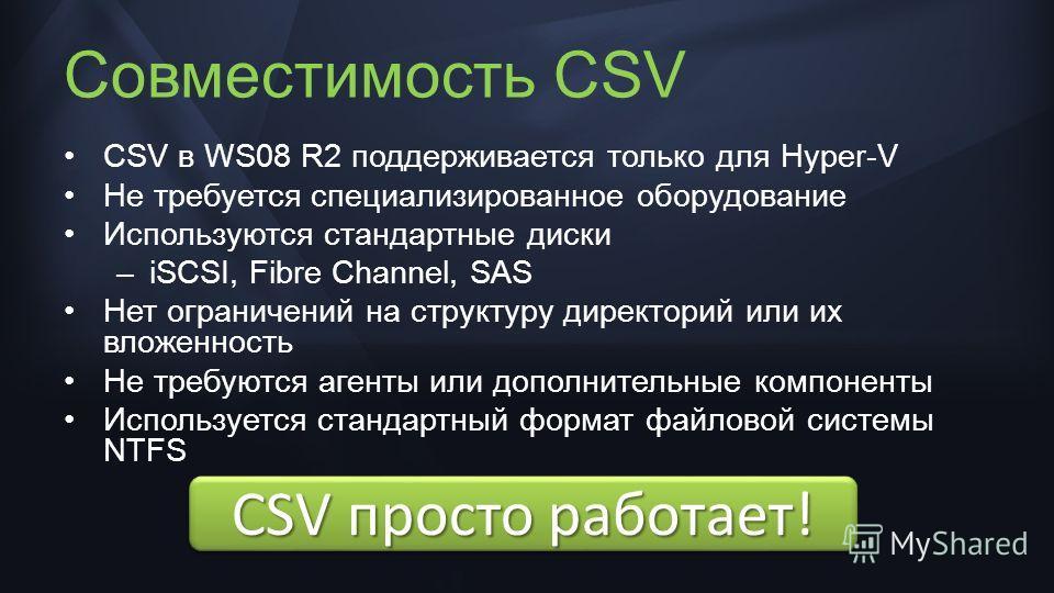 CSV просто работает! Совместимость CSV CSV в WS08 R2 поддерживается только для Hyper-V Не требуется специализированное оборудование Используются стандартные диски –iSCSI, Fibre Channel, SAS Нет ограничений на структуру директорий или их вложенность Н