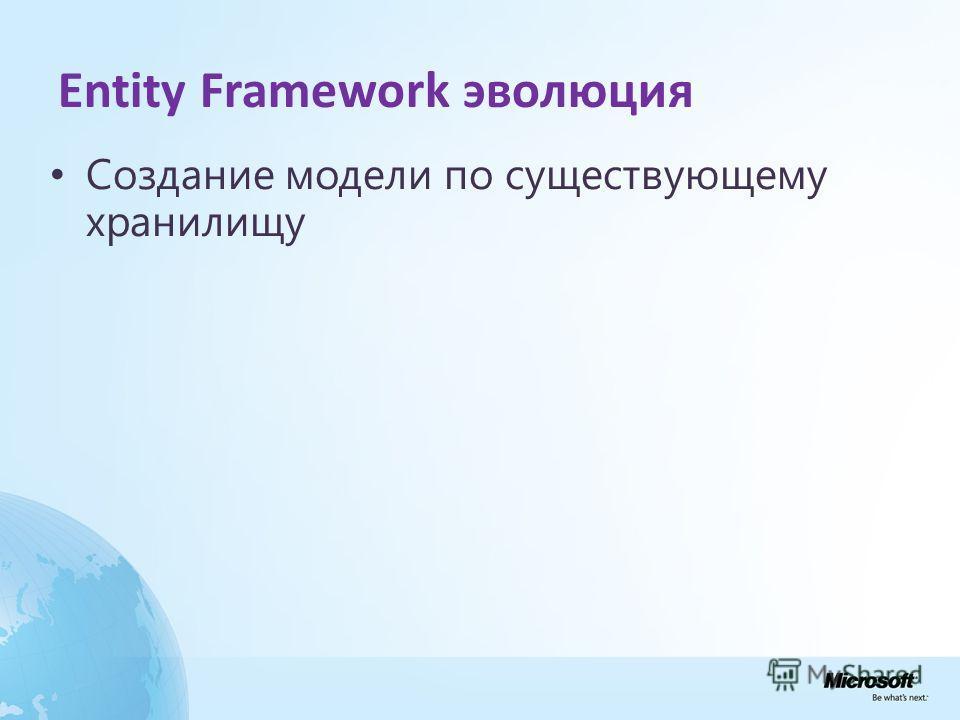 Entity Framework эволюция Создание модели по существующему хранилищу