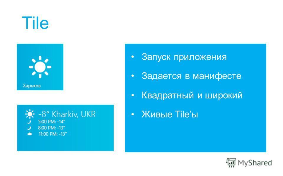 Tile Запуск приложения Задается в манифесте Квадратный и широкий Живые Tileы