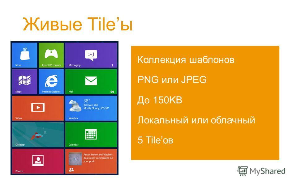 Живые Tileы Коллекция шаблонов PNG или JPEG До 150KB Локальный или облачный 5 Tileов