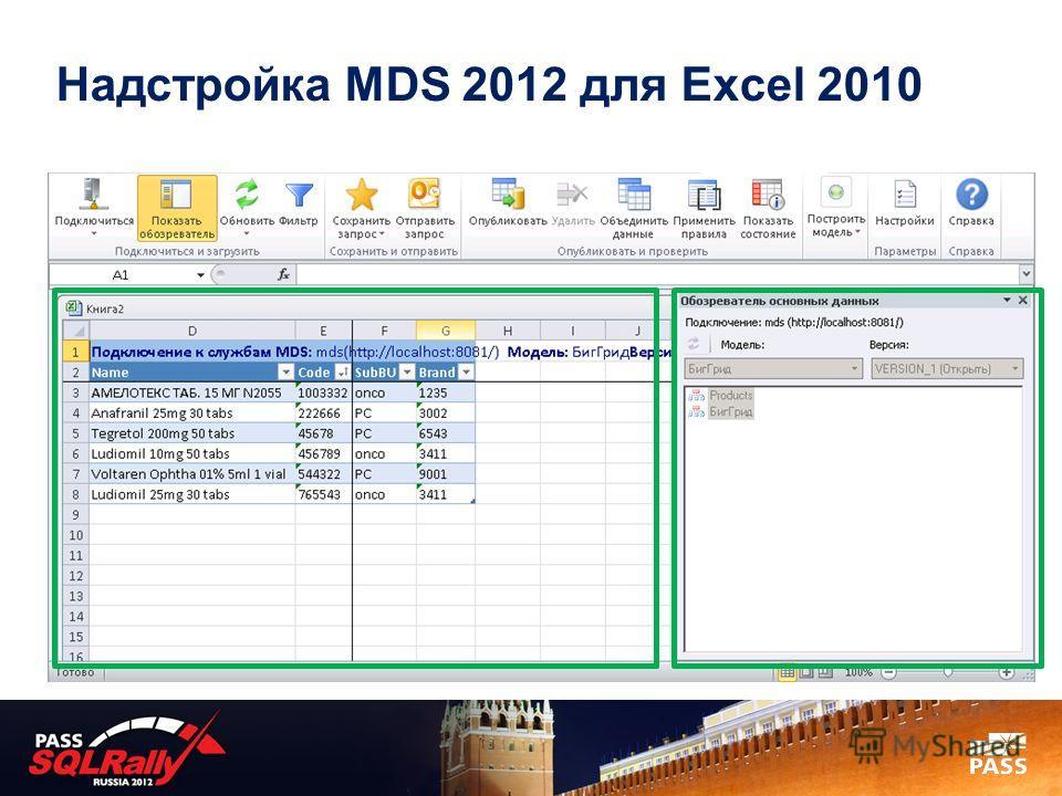 Надстройка MDS 2012 для Excel 2010