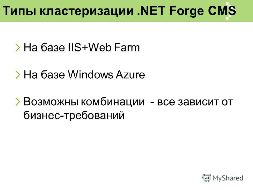 Типы кластеризации.NET Forge CMS На базе IIS+Web Farm На базе Windows Azure Возможны комбинации - все зависит от бизнес-требований