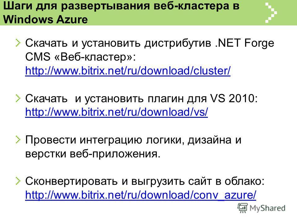 Шаги для развертывания веб-кластера в Windows Azure Скачать и установить дистрибутив.NET Forge CMS «Веб-кластер»: http://www.bitrix.net/ru/download/cluster/ http://www.bitrix.net/ru/download/cluster/ Скачать и установить плагин для VS 2010: http://ww
