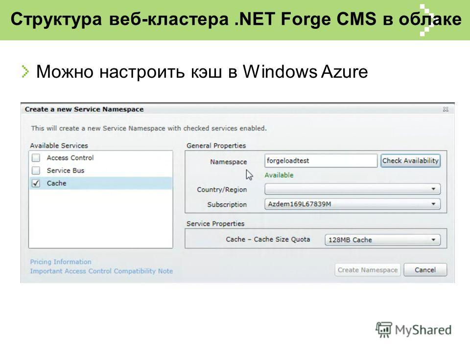 Структура веб-кластера.NET Forge CMS в облаке Можно настроить кэш в Windows Azure