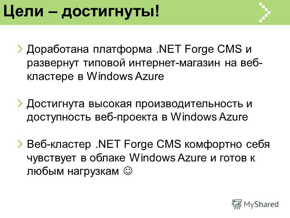 Цели – достигнуты! Доработана платформа.NET Forge CMS и развернут типовой интернет-магазин на веб- кластере в Windows Azure Достигнута высокая производительность и доступность веб-проекта в Windows Azure Веб-кластер.NET Forge CMS комфортно себя чувст
